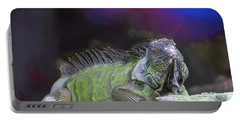 Portable Battery Charger featuring the painting Pop Iguana Edition 2 by Judy Kay