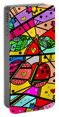 Popart Cherry By Nico Bielow Portable Battery Charger by Nico Bielow