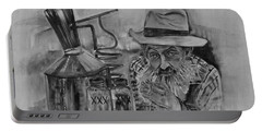 Popcorn Sutton - Black And White - Waiting On Shine Portable Battery Charger