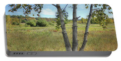 Poplar Tree In Autumn Meadow Portable Battery Charger