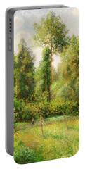 Portable Battery Charger featuring the painting Poplars - Eragny by Camille Pissaro