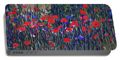 Poppies And Bachelor Buttons Portable Battery Charger