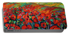 Poppies And Cypresses - Modern Impressionist Palette Knives Oil Painting Portable Battery Charger