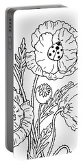 Poppies And Ladybug Drawing Portable Battery Charger