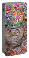 Poppies And Lupines In Pitcher Portable Battery Charger by Gerhardt Isringhaus