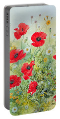 Poppies And Mayweed Portable Battery Charger by John Gubbins