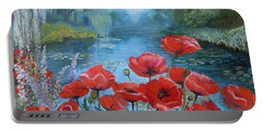 Poppies At Peaceful Pond Portable Battery Charger by Elena Antakova