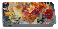 Poppies, Clematis, And Daffodils In Porcelain Vase. Portable Battery Charger
