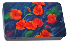 Portable Battery Charger featuring the painting Poppies In Abstract by Roseann Gilmore