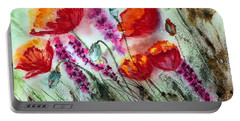 Portable Battery Charger featuring the painting Poppies In The Wind by Maria Barry