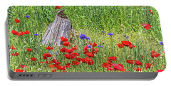 Poppies With A Cardinal Portable Battery Charger