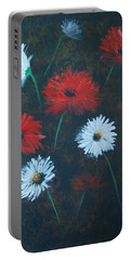 Portable Battery Charger featuring the painting Poppin Daisies by Leslie Allen