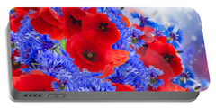 Poppy And Cornflower Flowers Portable Battery Charger by Anastasy Yarmolovich