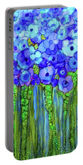 Portable Battery Charger featuring the mixed media Poppy Bloomies 2 - Blue by Carol Cavalaris