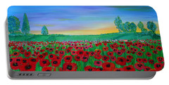 Poppy Field At Sunset Portable Battery Charger