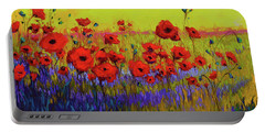 Portable Battery Charger featuring the painting Poppy Flower Field Oil Painting With Palette Knife by Patricia Awapara