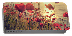 Poppy Flowers At Sunset Portable Battery Charger