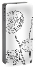 Poppy Flowers Drawing  Portable Battery Charger