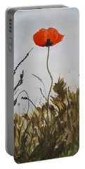 Poppy On The Field Portable Battery Charger by Manuela Constantin