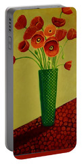 Portable Battery Charger featuring the painting Poppy Power by Nancy Jolley
