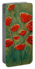 Portable Battery Charger featuring the painting Poppy Surprise by Leslie Allen