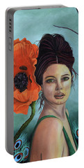 Poppy Updated Photo Portable Battery Charger by Leah Saulnier The Painting Maniac