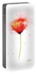 Poppy Watercolor Red Abstract Flower Portable Battery Charger