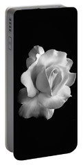 Porcelain Rose Flower Black And White Portable Battery Charger