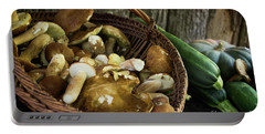 Porcini Mushrooms, Zucchini And A Pumpkin Portable Battery Charger