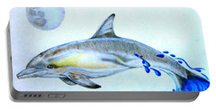 Portable Battery Charger featuring the drawing Porpoise by Mayhem Mediums
