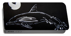 Portable Battery Charger featuring the drawing Porpoise Sillhouette by Mayhem Mediums