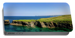 Port Isaac Coastline, Cornwall Portable Battery Charger by Chris Smith