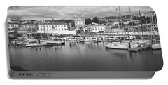 Port Of Angra Do Heroismo, Terceira Island, The Azores In Black And White Portable Battery Charger