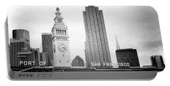 Port Of San Francisco Black And White- Art By Linda Woods Portable Battery Charger by Linda Woods