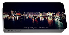 Portable Battery Charger featuring the photograph Port Of San Juan Night Lights by DigiArt Diaries by Vicky B Fuller