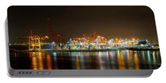 Port Of Vancouver Bc At Night Portable Battery Charger