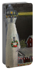 Port Sanilac Lighthouse At Christmas Portable Battery Charger