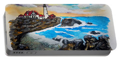 Porthead Lighthouse Maine In Watercolors Portable Battery Charger