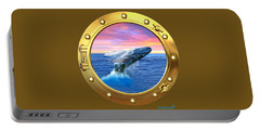 Porthole View Of Breaching Whale Portable Battery Charger
