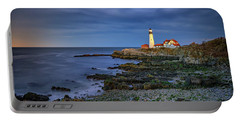 Portable Battery Charger featuring the photograph Portland Head Aglow by Rick Berk