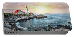 Portland Head Light At Dusk Portable Battery Charger