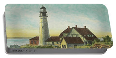 Portland Head Light At Sunrise Portable Battery Charger