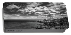 Portland Head Light In Black And White Portable Battery Charger