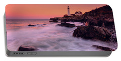 Portland Head Light In Pink  Portable Battery Charger