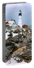 Portland Head Light In Winter Portable Battery Charger