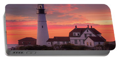 Portable Battery Charger featuring the photograph Portland Head Light Sun Set  by Emmanuel Panagiotakis