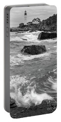 Portland Head Light Under Heavy Skies  -88356 Portable Battery Charger by John Bald