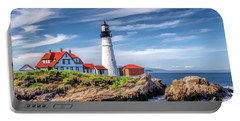Portable Battery Charger featuring the painting Portland Head Lighthouse by Christopher Arndt