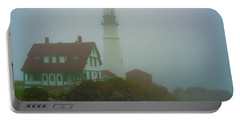 Portable Battery Charger featuring the photograph Portland Head Lighthouse In Mist by Chris Lord