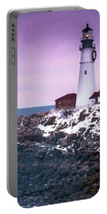 Maine Portland Headlight Lighthouse In Winter Snow Portable Battery Charger